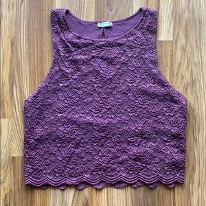 Free People Intimately Lace Crop Tank Purple